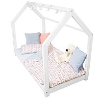 Biela posteľ s vyvýšenými nohami a bočnicami Benlemi Tery, 100x200cm, výška nôh 30cm