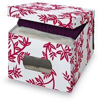 Červeno-biely úložný box Domopak Living, výška 31 cm