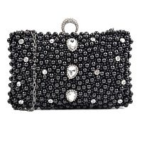 Čierna listová kabelka s dekorom z umelých perál Isabella Rhea Canna