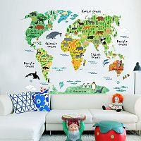 Detská nástenná samolepka Ambiance World Map, 73 x 95 cm