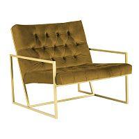 Horčicovožlté kreslo s konštrukciou v zlatej farbe Mazzini Sofas Bono