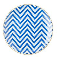 Modro-biely porcelánový tanier Vivas Zigzag, Ø23 cm