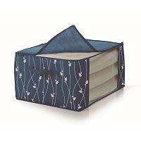Modrý úložný box na prikrývky Cosatto Leaves, šírka 60cm