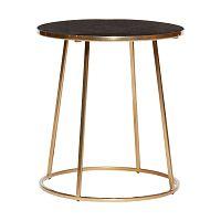 Odkladací stolík s čiernou mramorovou doskou a podnožou v zlatej farbe Hübsch Dana