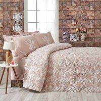 Ružový pléd cez postel na dvojlôžko s obliečkami na vankúše Pure, 200×220 cm