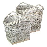 Sada 2 bielych bambusových úložných košov HSM Collection Booba