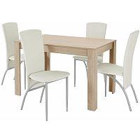 Set jedálenského stola a 4 béžových jedálenských stoličiek Støraa Lori Nevada Oak Light Grey