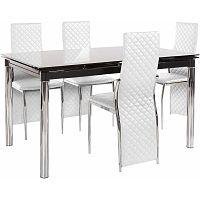 Set jedálenského stola a 4 bielych jedálenských stoličiek Støraa Pippa William White