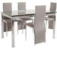Set jedálenského stola a 4 sivých jedálenských stoličiek Støraa Pippa William Grey