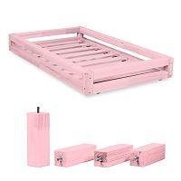 Set ružovej zásuvky pod posteľ a4predĺžených nôh Benlemi, pre posteľ 90x200cm