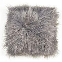 Sivý kožušinový podsedák s dlhým vlasom Egle, 37 x 37 cm