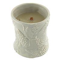 Sviečka s vôňou jantáru, vetiveru a pižma v keramickom svietniku Woodwick Oheň v kozube, doba horenia 40 hodín