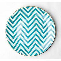 Tyrkysovo-biely porcelánový tanier Vivas Zigzag, Ø23 cm