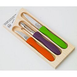 3-dielna sada nožíkov a škrabky v drevenej škatuľke Jean Dubost Rainbow