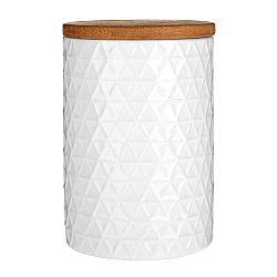 Biela dóza s bambusovým vrchnákom Premier Housewares White Tri Canister, ⌀ 10 cm