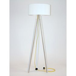 Biela stojacia lampa s bielym tienidloma žltým káblom Ragaba Wanda