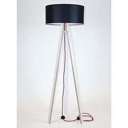 Biela stojacia lampa s čiernym tienidloma červeným káblom Ragaba Wanda