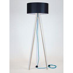 Biela stojacia lampa s čiernym tienidloma tyrkysovým káblom Ragaba Wanda