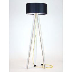 Biela stojacia lampa s čiernym tienidloma žltým káblom Ragaba Wanda