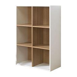 Bielo-hnedá knižnica so 6 policami JUNIOR Provence Cube