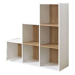 Bielo-hnedá knižnica so 6 policami JUNIOR Provence Staircase