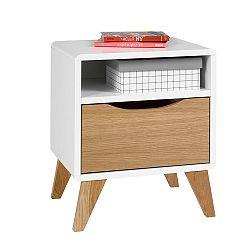 Bielo-hnedý nočný stolík so zásuvkou JUNIIOR Provence Oskar