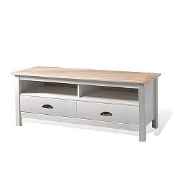 Biely TV stolík z borovicového dreva s 2 zásuvkami SOB Irelia