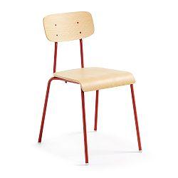 Červená jedálenská stolička s prírodným sedadlom La Forma Klee