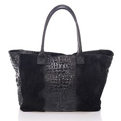 Čierna kožená kabelka Lisa Minardi Fausta