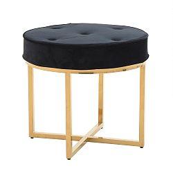 Čierna stolička s kovovými nohami v zlatej farbe InArt