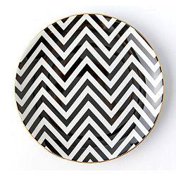 Čierno-biely porcelánový tanier Vivas Zigzag, Ø23 cm