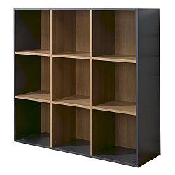 Čierno-hnedá knižnica s 9 policami JUNIOR Provence Cube