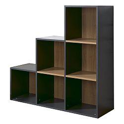 Čierno-hnedá knižnica so 6 policami JUNIOR Provence Staircase