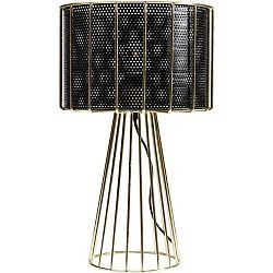 Čierno-zlatá stolová lampa Kare Design Wire