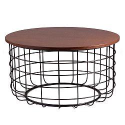 Čierny odkladací stolík sdoskou vdekore orechového dreva sømcasa Celso
