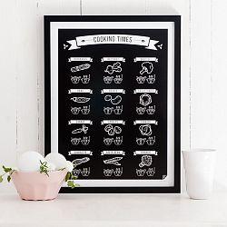 Čierny plagát Follygraph Cooking Times, 21x30cm