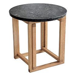 Čierny žulový odkladací stolík s podnožou z dubového dreva RGE Accent, ⌀ 50 cm