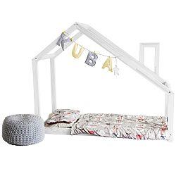 Detská biela posteľ s bočnicami Benlemi Deny, 70x140cm
