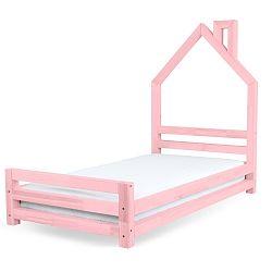 Detská ružová posteľ zborovicového dreva Benlemi Wally, 120x200cm