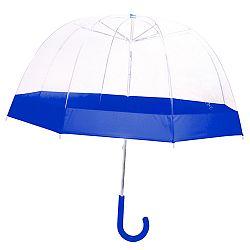 Detský transparentný dáždnik s modrými detailmi