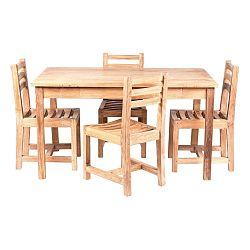 Detský záhradný stôl so 4 stoličkami z teakového dreva Massive Home Junior