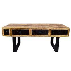 Konferenčný stolík z masívneho mangového dreva so 4 zásuvkami Massive Home Bella, dĺžka 120 cm