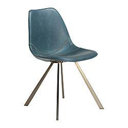 Modrá jedálenská stolička s podnožou v zlatej farbe DAN–FORM Pitch