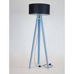 Modrá stojacia lampa s čiernym tienidloma čierno-bielym káblom Ragaba Wanda
