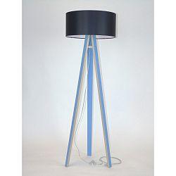 Modrá stojacia lampa s čiernym tienidloma transparentným káblom Ragaba Wanda