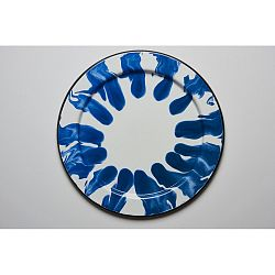 Modro-biela smaltovaná tácka Kapka Little Color, Ø32 cm