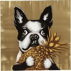 Obraz Kare Design Touched Dog with Pineapple, 80 x 80 cm