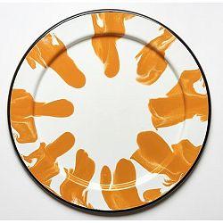 Oranžovo-biela smaltovaná tácka Kapka Little Color, Ø32 cm