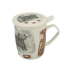 Porcelánový hrnček s filtrom s motívom mačky Duo Gift, 400 ml