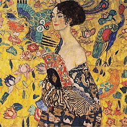 Reprodukcia obrazu Gustav Klimt Lady With Fan, 70 x 70 cm